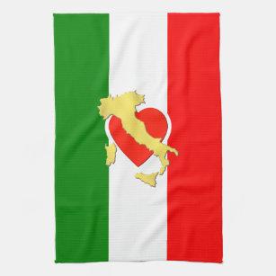 Italy Italian Italia Flag Tricolore Heart Country Kitchen Towel