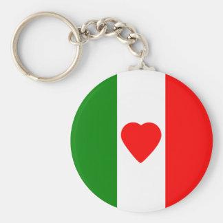 Italy Italian Italia Flag Tricolore Heart Design Keychain