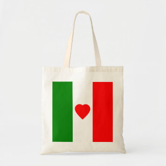 Italy Italian Italia Flag Tricolore Heart Design Tote Bag