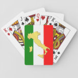 "Italy Italian Italia Tricolore Gold Country Playing Cards<br><div class=""desc"">Anyone who has been in Italy for some time will have noticed that the Italians really enjoy their dolce vita. Italians attach great importance to their leisure time, their family, friends, neighbors and good food. They are proud of their country and appreciate the beauty and the good. Classy italy flag...</div>"