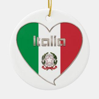Italy ITALY Souvenir NATIONAL FLAG in heart Ceramic Ornament
