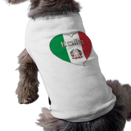 Italy ITALY Souvenir NATIONAL FLAG in heart Doggie Tshirt