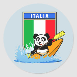 Round Sticker with Italian Kayaking Panda design