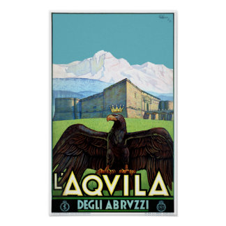 Italy L'Aquila Restored Vintage Travel Poster