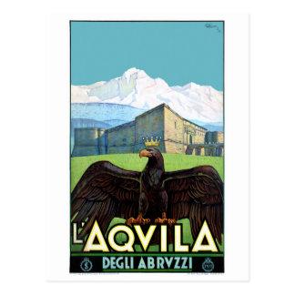 Italy L'Aquila Restored Vintage Travel Poster Postcard