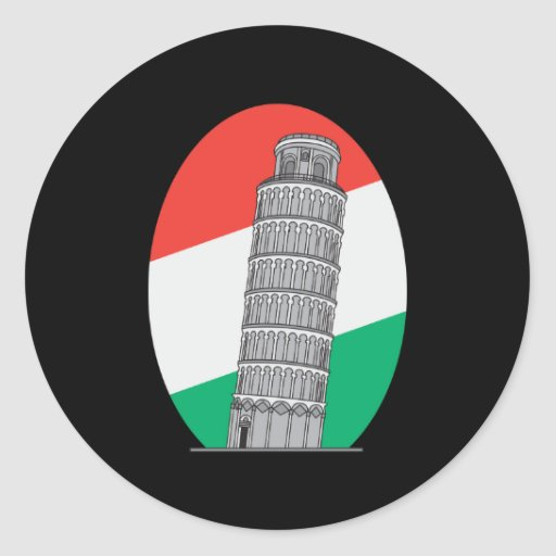 Italy Leaning Tower of Pisa Round Stickers