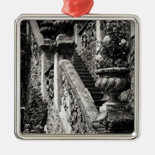 Italy, Lecco Province, Varenna. Villa Monastero, 3 Square Metal Christmas Ornament