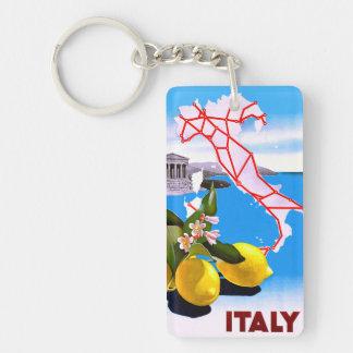 Italy Lemon Roman Temple Flower Double-Sided Rectangular Acrylic Keychain