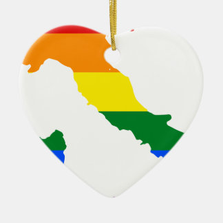 Italy LGBT Flag Map Ceramic Ornament