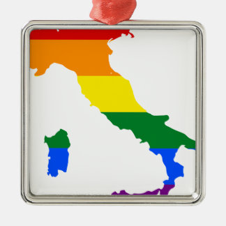 Italy LGBT Flag Map Metal Ornament