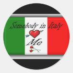 Italy love round stickers
