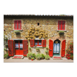 Italy, Lucignano, Red Shutters and Harvest Photographic Print