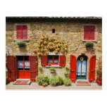Italy, Lucignano, Red Shutters and Harvest Post Card