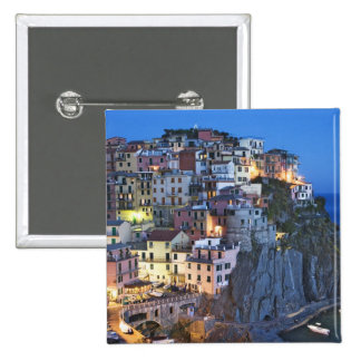 Italy, Manarola. Dusk falls on a hillside town 2 Inch Square Button