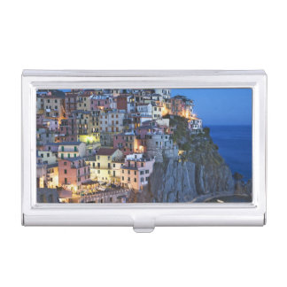 Italy, Manarola. Dusk falls on a hillside town Business Card Case