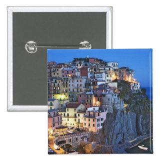 Italy, Manarola. Dusk falls on a hillside town Pinback Button