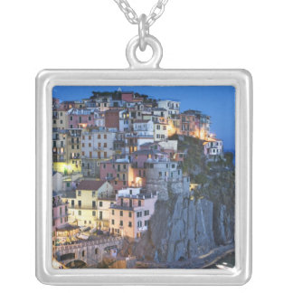 Italy, Manarola. Dusk falls on a hillside town Silver Plated Necklace