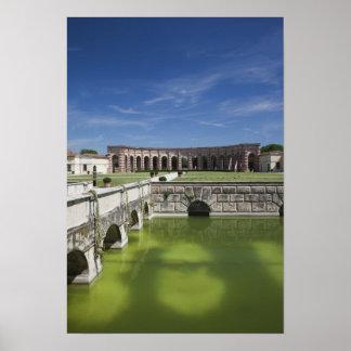 Italy, Mantua Province, Mantua. Courtyard, Poster