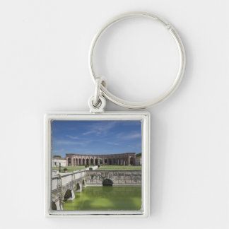 Italy, Mantua Province, Mantua. Courtyard, Silver-Colored Square Keychain