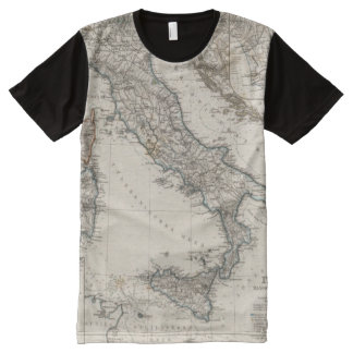 Italy Map by Stieler All-Over Print T-shirt