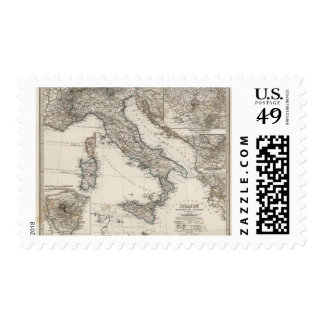 Italy Map by Stieler Postage