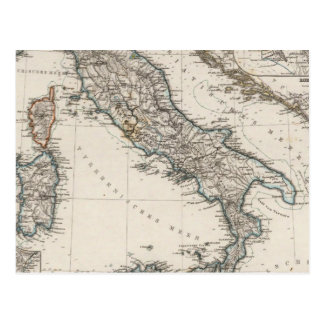 Italy Map by Stieler Postcard