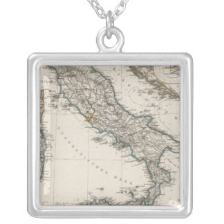 Italy Map by Stieler Silver Plated Necklace