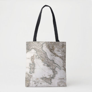 Italy Map by Stieler Tote Bag