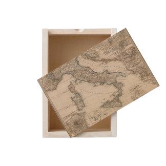 Italy Map by Stieler Wooden Keepsake Box