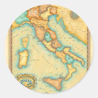 Italy Map Classic Round Sticker
