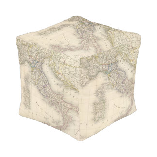 Italy Map Cube Pouf