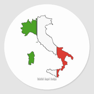 Italy Map Flag Classic Round Sticker