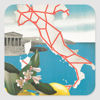 Italy Map Lemons Vintage Travel Poster Square Sticker