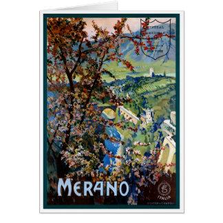 Italy Merano Meran Restored Vintage Travel Poster Card