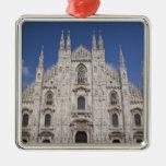 Italy, Milan Province, Milan. Milan Cathedral, 2 Square Metal Christmas Ornament