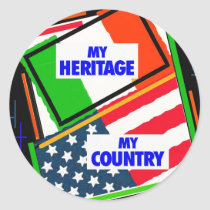 Italy,...my Heritage, USA,...my Country Classic Round Sticker