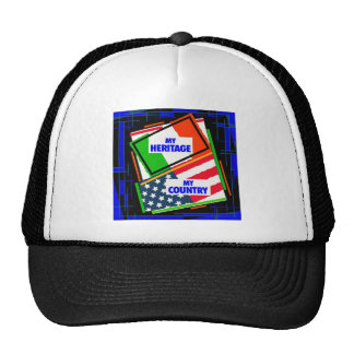 Italy,...my Heritage, USA,...my Country Trucker Hat