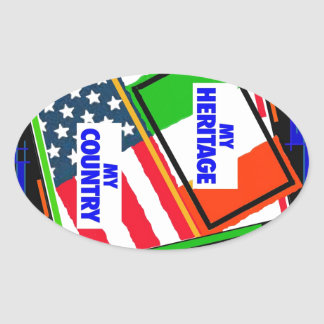 Italy,...my Heritage, USA,...my Country Oval Sticker