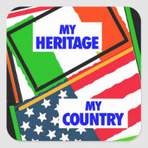 Italy,...my Heritage, USA,...my Country Square Sticker