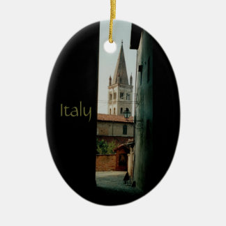Italy Double-Sided Oval Ceramic Christmas Ornament