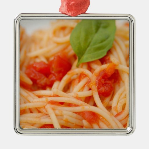 Italy, Orta, Lake Orta, spaghetti with tomato Square Metal Christmas Ornament