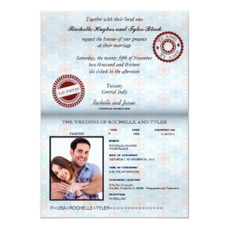 "Italy Passport Wedding Invitation_custom unlocked 5"" X 7"" Invitation Card"