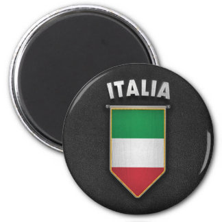 Italy Pennant with high quality leather look 2 Inch Round Magnet