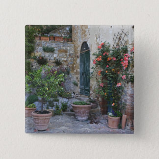 Italy, Petroio. Potted plants decorate a patio Button