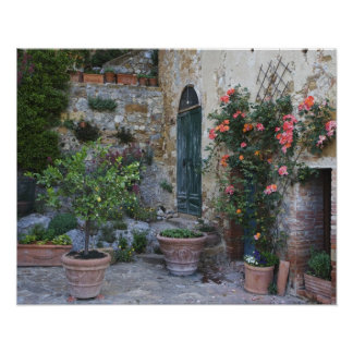 Italy, Petroio. Potted plants decorate a patio Posters