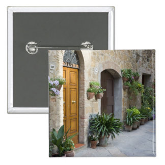 Italy, Pienza. Flower pots and potted plants Button