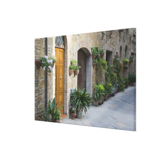 Italy Pienza Flower pots and potted plants Canvas Print