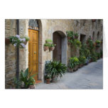 Italy, Pienza. Flower pots and potted plants Card