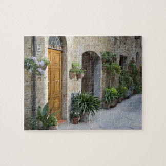 Italy, Pienza. Flower pots and potted plants Jigsaw Puzzle