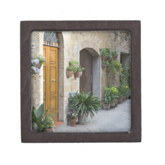 Italy, Pienza. Flower pots and potted plants Keepsake Box